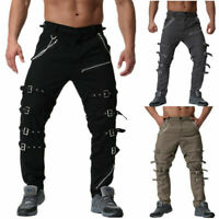 2019 Punk Mens Rock Club Hip Hop Long Pants Chain Metals Goth Military Trousers