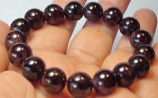 Garnet Crystal Beads Stretchy Bangle Bracelet 252.50 ct 11.5 mm Natural Wine Red