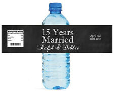 """100 15 Years Married Anniversary Party Wedding Water Bottle Labels 8""""x2"""""""