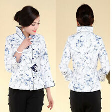 white/blue Chinese Women's cotton embroidery jacket /coat Red Sz:M L XL 2XL 3XL