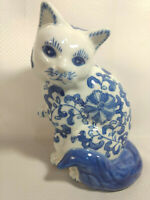 Vintage Blue and White Cat Figurine Porcelain Kitten Asian Floral Made in China