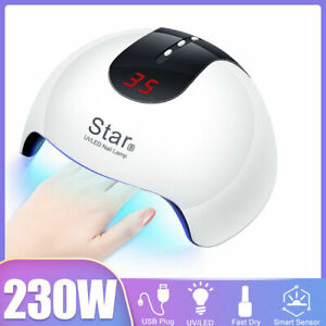 230W LED Nail Dryer UV Lamp Gel Nail Polish Fast Curing Light Timer Sensor Salon