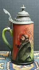 Antique Porcelain Hand Painted Pewter Lid Lithophane Beer Stein Wow!