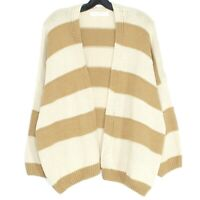 NWT Les Soeurs Womens Cardigan Sweater Stripe Open Front Brown Medium Large BZ