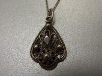 925er Silber Halskette m Anhänger Kette lang 40 cm Anhänger 2,5x1,5 cm Ge 3,5 gr