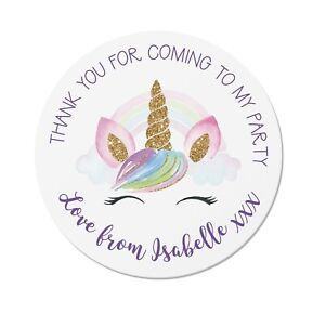 24 Personalised Unicorn Birthday Party Thank You Stickers - Bag / Cone Seals