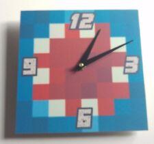 wooden Minecraft style iballisticsquid Handmade Wall Clock Gift Kids Bedroom