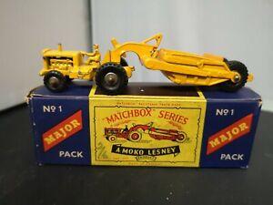T401-MATCHBOX MAJOR PACK No1 CATERPILLAR EARTH SCRAPER AND ORIGINAL BOX