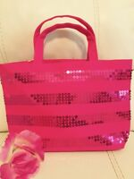 Victoria's Secret Signature Striped Pink Purse Tote SPARKLY BLING Shopped Bag