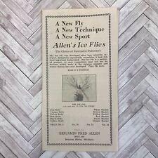 Vintage Sales Brochure Fly Fishing Allen's Ice Flies 1944 Bait Michigan Mi