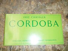 1982 CHRYSLER CORDOBA FACTORY OWNERS MANUAL OPERATORS GLOVE BOX BOOK