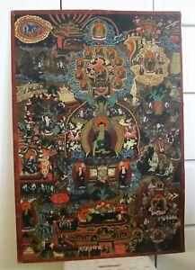 """Antique Large Tibetan Buddhism Detailed Painting On Cloth Tangka Thangka 33.2"""""""