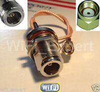 RP-SMA Male to N female bulkhead with 15cm RG316 rf pigtail cable ships from USA