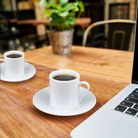 4 Cup & Saucer Plain White Espresso Coffee Set - 4 Cup Saucer Set Favour - Gift