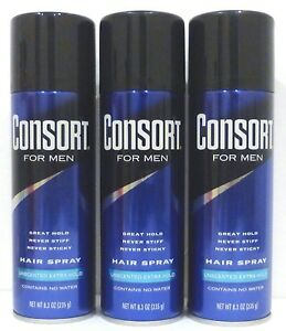 3 Consort for Men Hair Spray Unscented Extra Hold 8.3 Oz ea NEW!