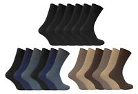 6 Pairs Mens Thin Soft 100% Cotton Rich Non Elastic Wide Loose Top Dress Socks