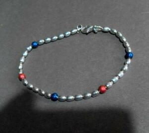 Cont Silver 925 Beaded Bracelet with red and blue bead 12576