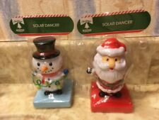 2pack -Solar Powered Dancing Snowman and Santa Bobble Head Toy By Greenbrier NEW