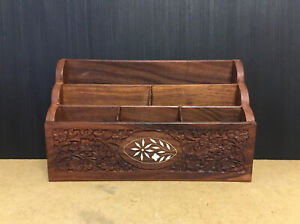 NICE VINTAGE CARVED DESK TIDY STATIONERY RACK WITH INLAID DECORATION