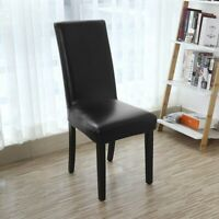 Dining Chair Covers, Solid Pu Leather Waterproof and Oilproof Stretch Dinin C8Y3
