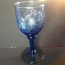Depression Pressed Glass blue water goblet orchard Pattern w fruits and grapes