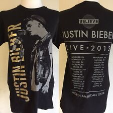"""JUSTIN BIEBER (2013) """"Believe"""" Concert North American Tour Dates T-Shirt Small"""
