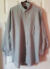 Men's Long Sleeve Emporio Armani Button Front Pinstriped Shirt - Size Lrg - Blue