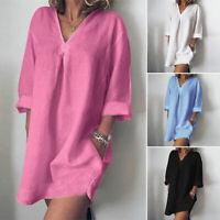 ZANZEA Women Long Sleeve V Neck Mini Dress Summer Long Shirt Dress Tops Blouse