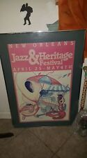 1986 New Orleans Jazz & Heritage Festival poster framed very rare poster