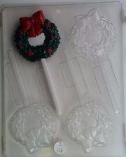 CHRISTMAS WREATH LOLLIPOP CLEAR PLASTIC CHOCOLATE CANDY MOLD C126