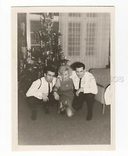 FOUND PHOTO BLACK & WHITE 1966 MEN POSED WITH WOMAN BY CHRISTMAS TREE A120