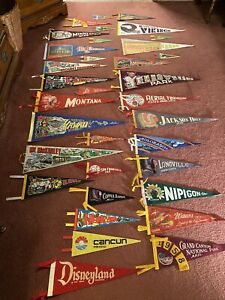 Lot 34 Vtg 50s Pennants Disneyland Yellowstone Hawaii Grand Canyon San Fran