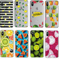 For iPhone XS Max XR X 8 7 6s Plus Slim Soft Clear Fruit Painted TPU Case Cover