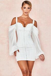 HOUSE OF CB 'Eva'White Corset Dress with Blouson Sleeves/Size XL-US 10-12/PH3257