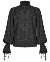 Punk Rave Mens Gothic Shirt Top Black Paisley Steampunk Dandy Poet Victorian VTG