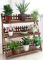 Plant Stand Pot Stand 3 Tiers Pinewood Garden Planter Indoor Outdoor Decoration