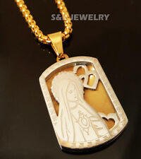 """Stainless Steel Virgin Mary Dog Tag Pendant & 24"""" Round Box Chain Necklace 149SG"""