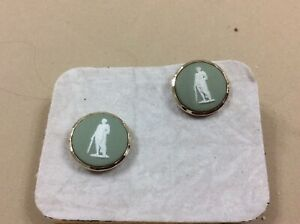 A pair of green wedgewood . cuff links