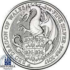 The Queen's Beasts 2017 Drache von Wales 2 Oz Silbermünze 5 Pfund Großbritannien