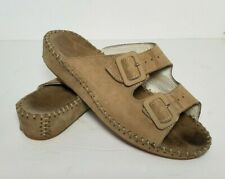La Plume Size 38 US 8 Sandals Jen Tan Brown Designer Leather Slip On Shoes