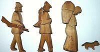 Holzschnitzerei Holz Figuren von Spieluhr Jäger Dackel Bauer Kräuterfrau Kiepe