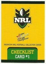 2008 NRL SELECT CHAMPIONS CHECKLIST #1 COMMON BASE CARD FREE POST