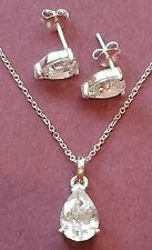 Silver Cubic Zirconia Pear Pendant and Earring set
