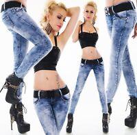 Donna anca jeans pantaloni skinny elasticizzati slim fit lavaggio CINTURA XS-XL
