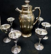 Flora Homan Plate on Nickel Silver Art Deco Cocktail Shaker & (6) Wine Goblets