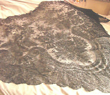 Vintage Victorian BLACK LACE Shawl Wrap Mantilla 53x102 Antique