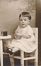 c1912 Rppc Baby in White Dress on Chair, Blocks Toy Sepia Photo Postcard Azo