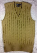 POLO Ralph Lauren 100% Wool Beige Cable Knit Sweater Vest Mens Size M Hong Kong