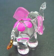 Little Glass ELEPHANT Pink Ears & Flower Cute Glass Animal Glass Ornament Figure
