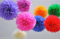 "8"" 10"" 14"" Tissue Paper Pompoms Pom Poms Balls Wedding Party Decor UK SELLER"